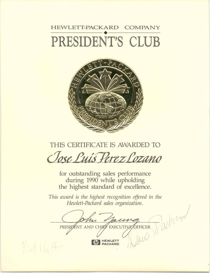 "Miembro del ""President´s Club"" de Hewlett Packard"